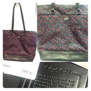Black floral Coach purse